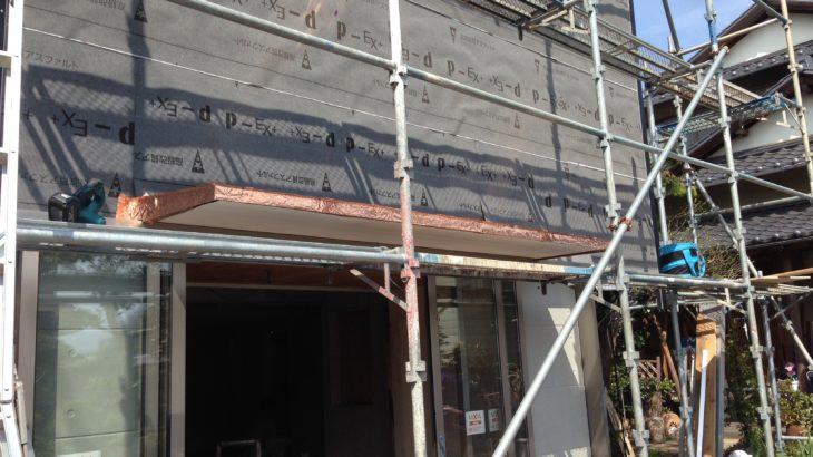 【施工例】クシャクシャな銅板の壁